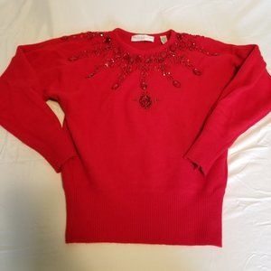 Vintage Red Jeweled Sweater Lambswool Angora